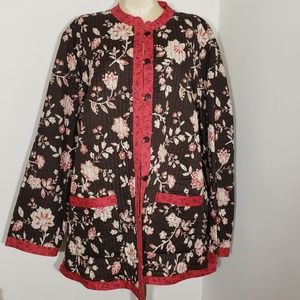 Anne Carson REVERSIBLE floral quilted jacket 2X